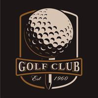 Golfboll vektorlogo på mörk bakgrund