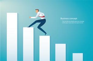 Geschäftsmann läuft auf Grafik. Unternehmenskonzept