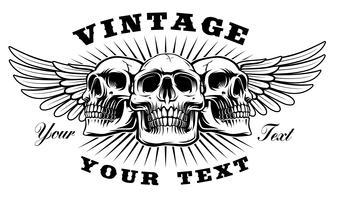 Vintage skalle med vingar vektor