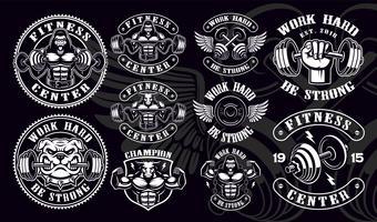 Set med vintage märken, logotyper, skjortedesigner för gym. vektor