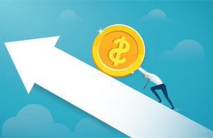 Mann schieben die große Goldmünze zum Erfolg vektor