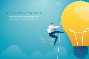 Mann auf Glühbirne klettern. kreatives Denkkonzept