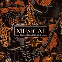 Musikalischer nahtloser Hintergrund mit verschiedenen Musikinstrumenten vektor
