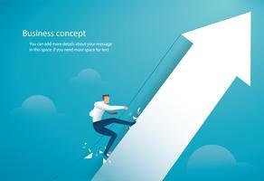 Affärsman klättrar på den stora pilen