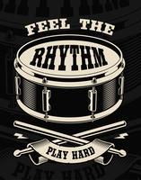 Vektor illustration av trumma med korsade pinnar