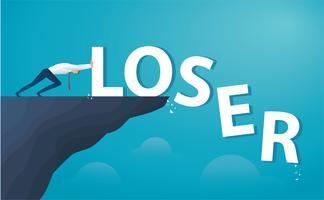 Affärsman trycker på ordet förlorare från toppen av kullen. vektor
