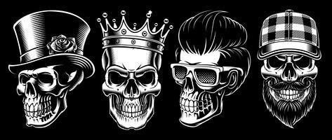 Set av Vintage Skulls.