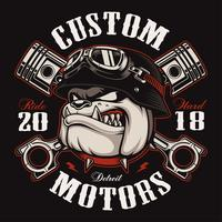 Biker Bulldog biker t-shirt design (färgversion)