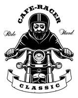 Ryttare på motorcykel med skägg på vit bakgrund