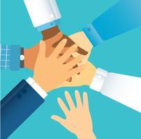 Leute, die ihre Hände zusammenlegen. Freiwillige