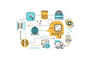 AI (artificiell intelligens) koncept illustration