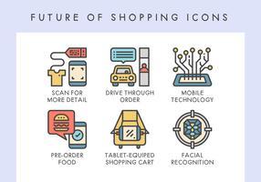 Zukunft von Einkaufsikonen vektor