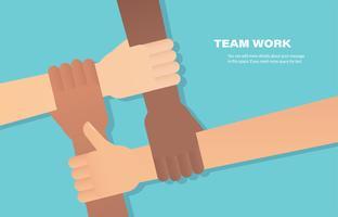 människor sätter ihop sina händer. volontär Vector platt illustration