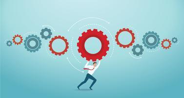Affärsman håller redskap och utrymme för skriv. koncept för innovation