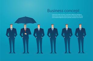 Geschäftsmann mit Regenschirmschutz-Konzepthintergrund