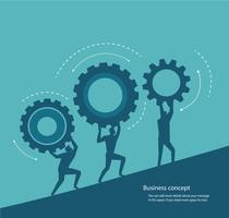 grupp människor som håller kugghjul och utrymme för skrivning. koncept för innovation