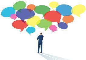 Geschäftsmänner mit Chatblasenvektorillustration eines Kommunikationskonzeptes