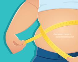 överviktig, fet person använder skalan för att mäta hans midja med blå bakgrund vektor