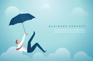 Mann vom Himmel fallen. Geschäftskonzept Vektor-Illustration