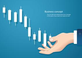 Hand, die einen Börsenikonen-Vektorhintergrund des Kerzenständerdiagramms hält