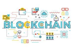 Blockchain-Wortbeschriftungsillustration