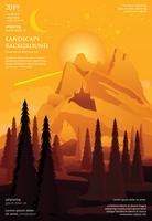 Landskap Poster Bakgrund Grafisk Design Vektor Illustration