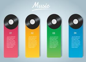 Vinylaufzeichnung mit infographic Hintergrundvektor des Abdeckungsmodells