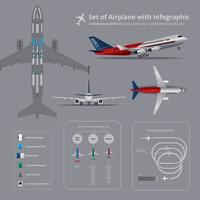Set av flygplan med infografisk isolerad vektor illustration