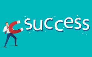 affärsidé. affärsman lockar framgångs text med en stor magnet vektor illustration