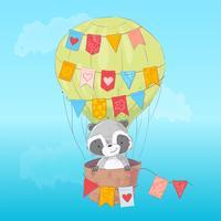 Affisch söt tvättbjörn som flyger i en ballong. Tecknad stil. Vektor