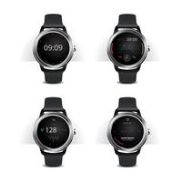 Smart Watch med Digital Display Set Vector Illustration