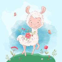 Plakat süße Lama Blumen und Schmetterlinge. Cartoon-Stil. Vektor