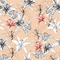 Lilly Blumen des nahtlosen Musterweinleserosas auf Pastellhintergrund Vektorillustrations-Aquarellart Für verwendetes Tapetendesign Textilgewebe oder Packpapier