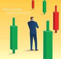 Geschäftsmann, der mit Kerzenständerdiagrammhintergrund, Konzept der Börse, Vektorillustration steht