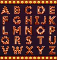 Brev alfabet skylt markiser glödlampa vintage karneval eller cirkus stil