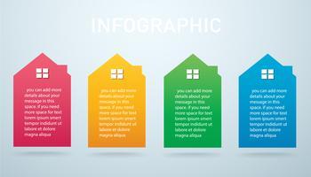 färgglada hus Infographic 4 alternativ bakgrund vektor illustration