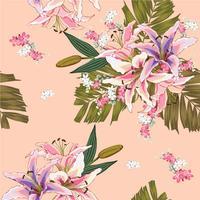 Nahtloses Muster Lilly, wilde Blumen, grüne Palmblätter auf rosa Pastellhintergrund Vektorillustrations-Handzeichnung Für benutztes Tapetendesign Textilgewebe oder Packpapier