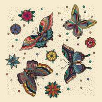 Schmetterlingsmuster mit Sahnehintergrund vektor