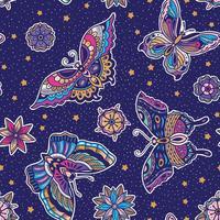 Fjärilmönster med blå bakgrund vektor