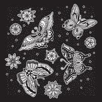 Schmetterlingsmuster mit schwarzem Hintergrund vektor