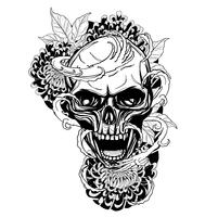Schädel mit der eigenhändig zeichnenden Chrysanthementätowierung vektor