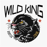 typografi slogan med panther huvud grafisk illustration