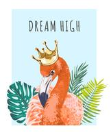 Flamingo in der Krone mit Slogan
