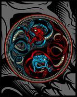 Doppelschlange, Schlange, die Yang-Vektorhandzeichnung ying ist