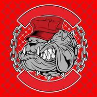 Bulldoggen tragen Kappen und Kettenhandzeichnungsvektor