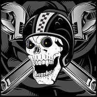 Vintages Radfahrer-Schädel-Emblem