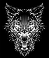 Vector wütenden Hauptwolf der Illustration, Entwurfsschattenbild auf einem schwarzen Hintergrund