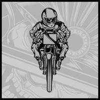 skalle motorcykel racing vektor