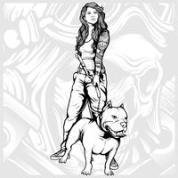 sexiga kvinnor med pit bull handrit vektor