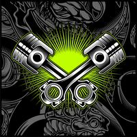 Quermotorrad-Kolben-Schwarzweiss-Emblem, Logos, Ausweis - Vektor